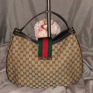 Authentic Gucci Webb Canvas Hobo